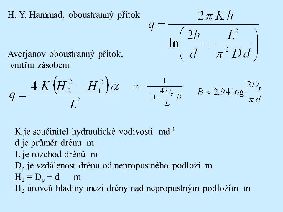 H. Y. Hammad, oboustranný přítok Averjanov oboustranný přítok, vnitřní zásobení K je součinitel hydraulické vodivosti md -1 d je průměr drénu m L je r