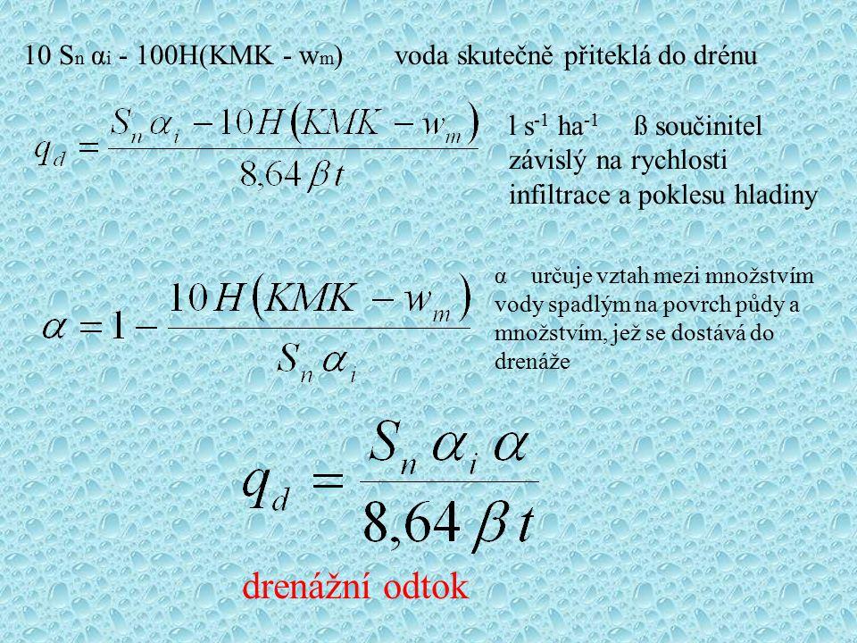 10 S n α i - 100H(KMK - w m ) voda skutečně přiteklá do drénu l s -1 ha -1 ß součinitel závislý na rychlosti infiltrace a poklesu hladiny α určuje vzt