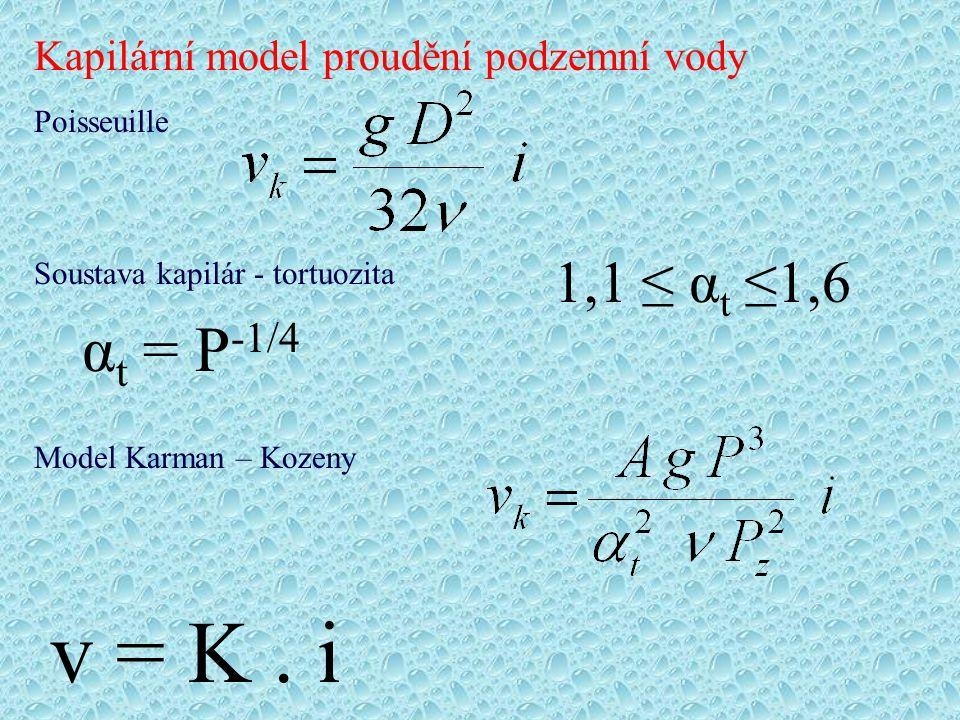 α t = P -1/4 1,1 ≤ α t ≤1,6 v = K. i Kapilární model proudění podzemní vody Model Karman – Kozeny Poisseuille Soustava kapilár - tortuozita