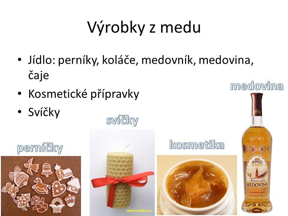Výrobky z medu Jídlo: perníky, koláče, medovník, medovina, čaje Kosmetické přípravky Svíčky