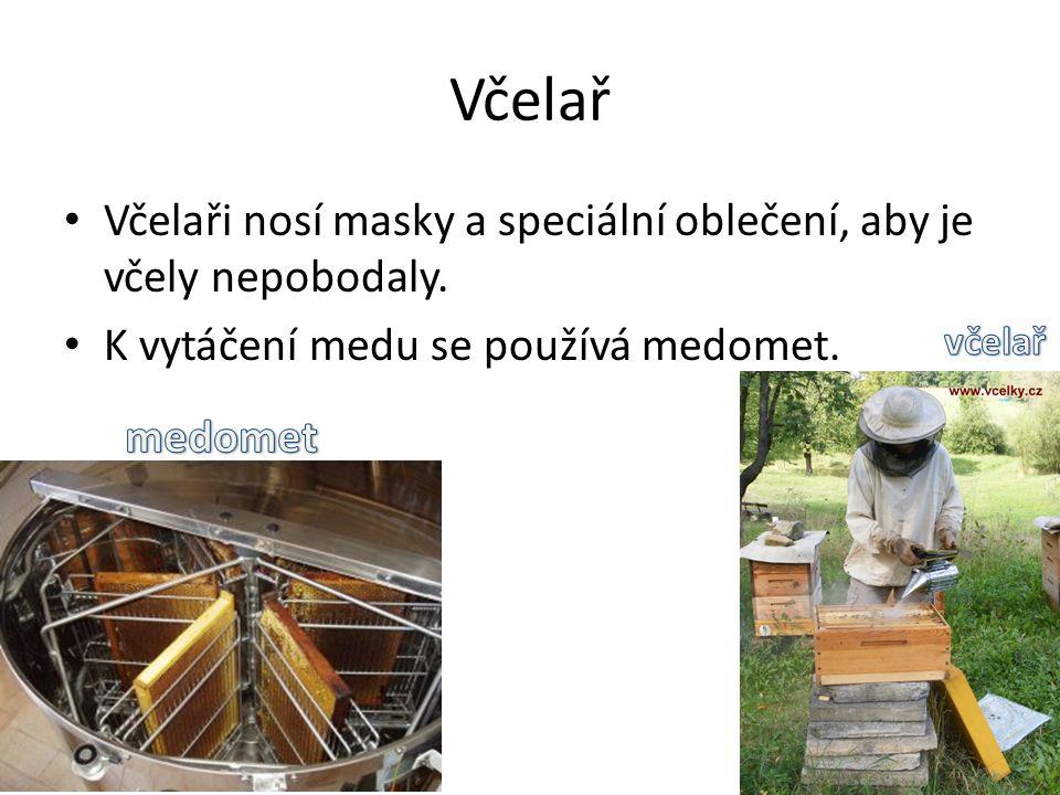 Včelař Včelaři nosí masky a speciální oblečení, aby je včely nepobodaly. K vytáčení medu se používá medomet.