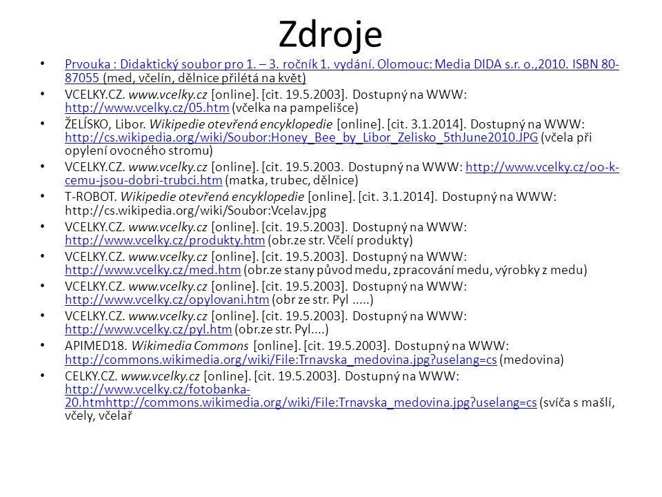Zdroje Prvouka : Didaktický soubor pro 1. – 3. ročník 1. vydání. Olomouc: Media DIDA s.r. o.,2010. ISBN 80- 87055 (med, včelín, dělnice přilétá na kvě