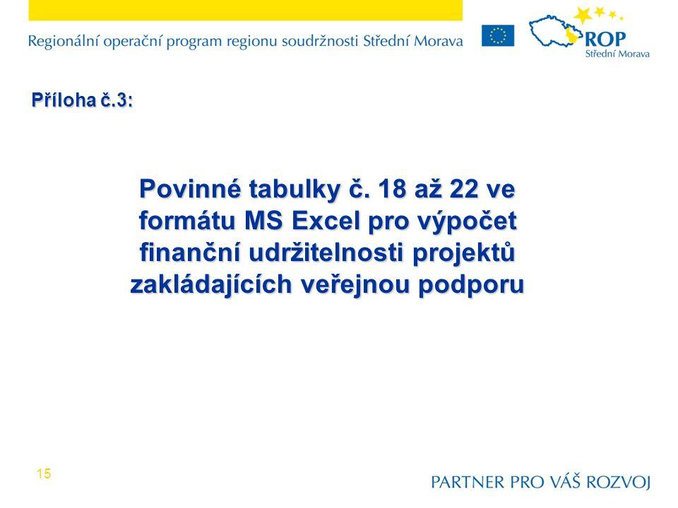 15 Povinné tabulky č. 18 až 22 ve formátu MS Excel pro výpočet finanční udržitelnosti projektů zakládajících veřejnou podporu Příloha č.3: