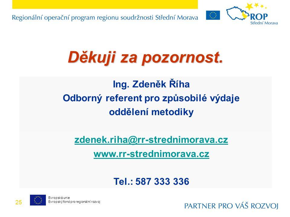 25 Ing. Zdeněk Říha Odborný referent pro způsobilé výdaje oddělení metodiky zdenek.riha@rr-strednimorava.cz www.rr-strednimorava.cz Tel.: 587 333 336