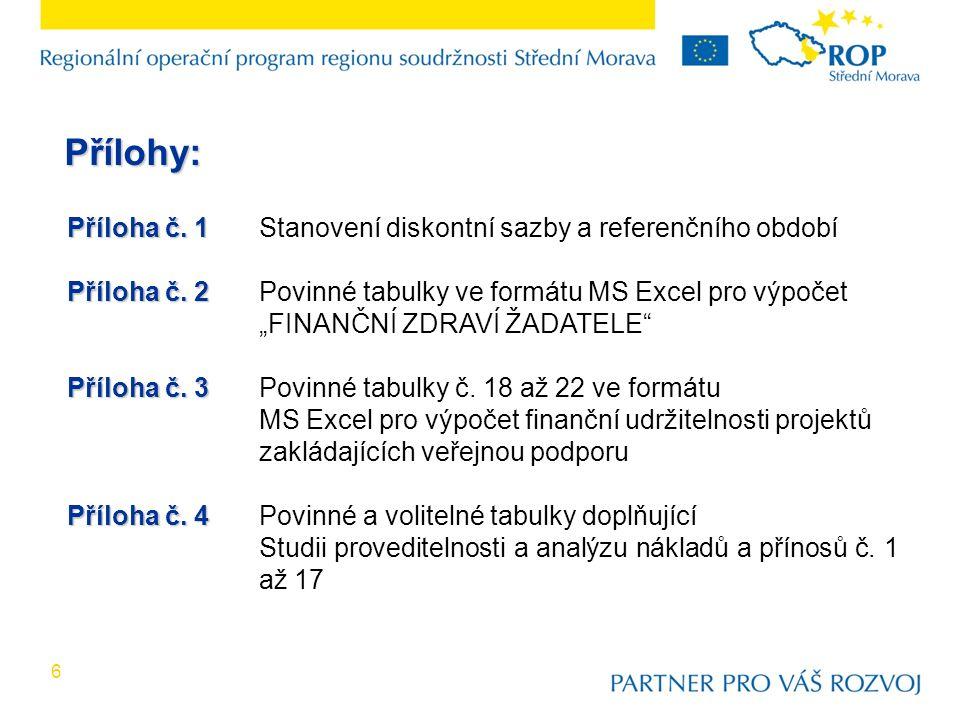 7 Příloha č.1: Referenční období posuzování projektů Odvětví Prioritní osa/Oblast podpory/Podob last podpory Referenční horizont (roky) Silnice, regionální letiště, terminály, zastávky, fyzická revitalizace území 1.1.1, 1.1.2, 1.2, 1.3, 2.2.1, 2.3.1 25 Ostatní služby včetně cestovního ruchu a veřejné dopravy 1.2, 2, 315 V případě projektů zakládající veřejnou podporu se jedná o dobu realizace projektu a dobu udržitelnosti projektu.