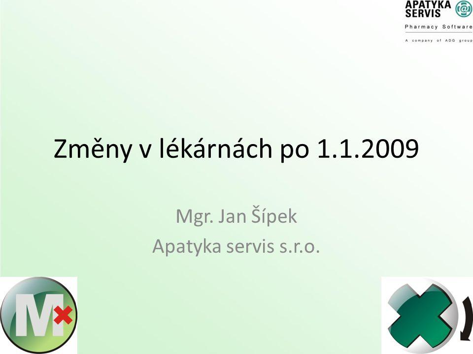 Změny v lékárnách po 1.1.2009 Mgr. Jan Šípek Apatyka servis s.r.o.