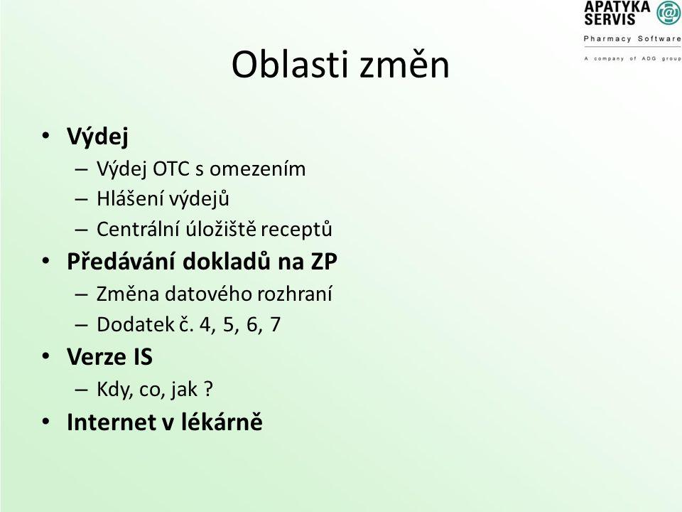 Oblasti změn Výdej – Výdej OTC s omezením – Hlášení výdejů – Centrální úložiště receptů Předávání dokladů na ZP – Změna datového rozhraní – Dodatek č.