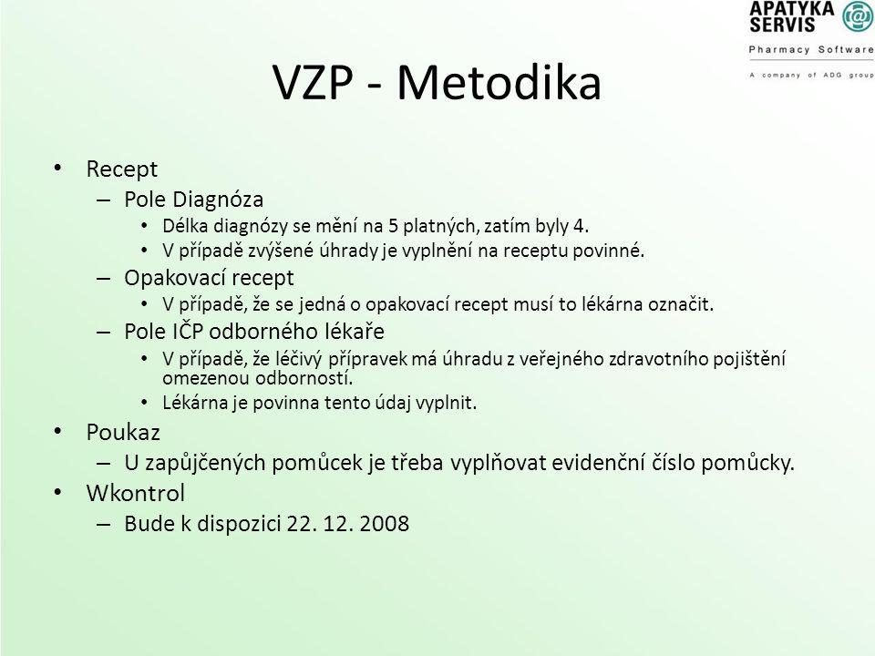 VZP - Metodika Recept – Pole Diagnóza Délka diagnózy se mění na 5 platných, zatím byly 4. V případě zvýšené úhrady je vyplnění na receptu povinné. – O