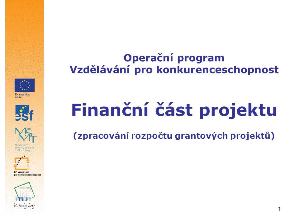 1 Operační program Vzdělávání pro konkurenceschopnost Finanční část projektu (zpracování rozpočtu grantových projektů)