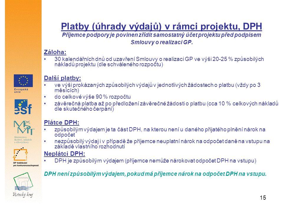 15 Záloha: 30 kalendářních dnů od uzavření Smlouvy o realizaci GP ve výši 20-25 % způsobilých nákladů projektu (dle schváleného rozpočtu) Další platby