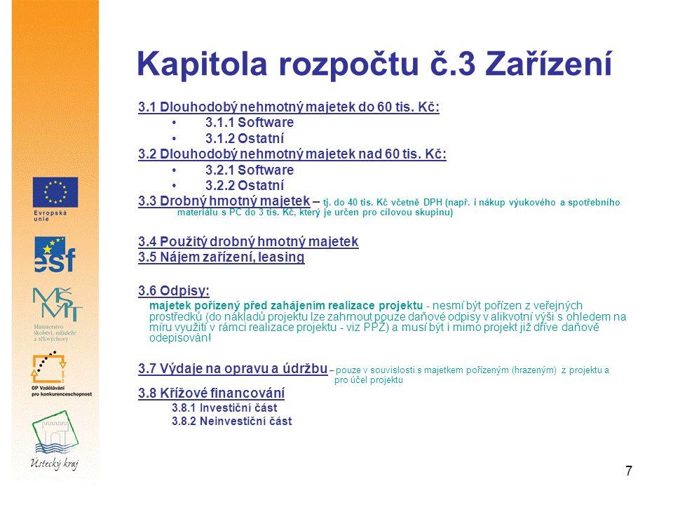 7 Kapitola rozpočtu č.3 Zařízení 3.1 Dlouhodobý nehmotný majetek do 60 tis. Kč: 3.1.1 Software 3.1.2 Ostatní 3.2 Dlouhodobý nehmotný majetek nad 60 ti