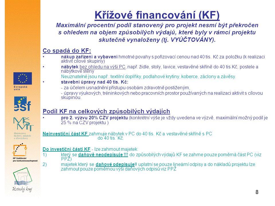 8 Co spadá do KF: nákup zařízení a vybavení hmotné povahy s pořizovací cenou nad 40 tis. Kč za položku (k realizaci aktivit cílové skupiny) nábytek be