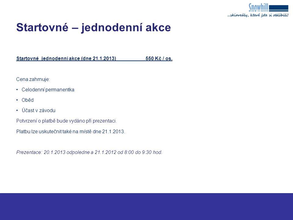 Startovné – jednodenní akce Startovné jednodenní akce (dne 21.1.2013)550 Kč / os.