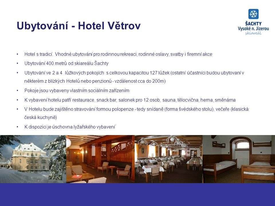 Ubytování - Hotel Větrov Hotel s tradicí.