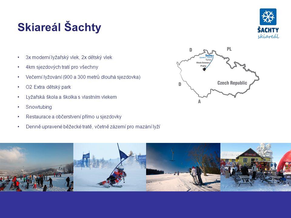 Skiareál Šachty 3x moderní lyžařský vlek, 2x dětský vlek 4km sjezdových tratí pro všechny Večerní lyžování (900 a 300 metrů dlouhá sjezdovka) O2 Extra dětský park Lyžařská škola a školka s vlastním vlekem Snowtubing Restaurace a občerstvení přímo u sjezdovky Denně upravené běžecké tratě, včetně zázemí pro mazání lyží