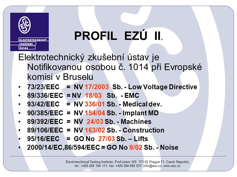 Electrotechnical Testing Institute, Pod Lisem 129, 171 02 Prague 71, Czech Republic tel.: +420 266 104 111, fax: +420 284 680 037, info@ezu.cz, www.ezu.cz PROFIL EZÚ II.