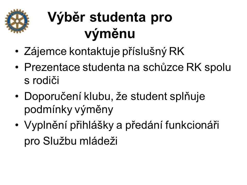 Výběr studenta pro výměnu Zájemce kontaktuje příslušný RK Prezentace studenta na schůzce RK spolu s rodiči Doporučení klubu, že student splňuje podmínky výměny Vyplnění přihlášky a předání funkcionáři pro Službu mládeži