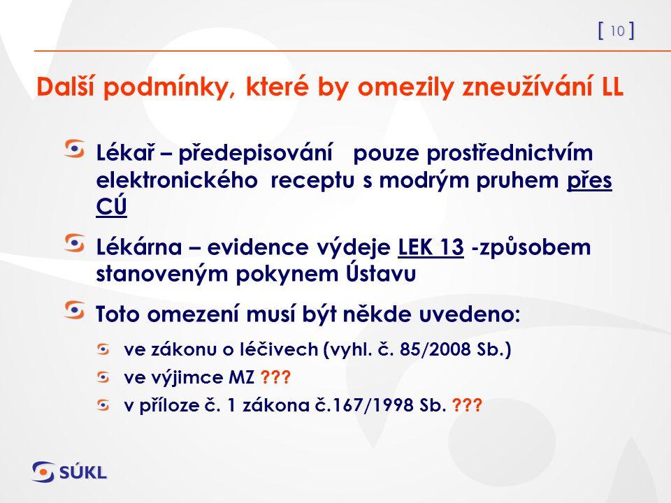 [ 10 ] Další podmínky, které by omezily zneužívání LL Lékař – předepisování pouze prostřednictvím elektronického receptu s modrým pruhem přes CÚ Lékárna – evidence výdeje LEK 13 -způsobem stanoveným pokynem Ústavu Toto omezení musí být někde uvedeno: ve zákonu o léčivech (vyhl.