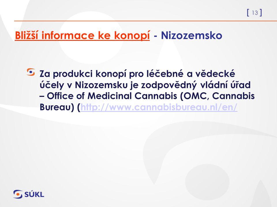 [ 13 ] Bližší informace ke konopí - Nizozemsko Za produkci konopí pro léčebné a vědecké účely v Nizozemsku je zodpovědný vládní úřad – Office of Medicinal Cannabis (OMC, Cannabis Bureau) (http://www.cannabisbureau.nl/en/http://www.cannabisbureau.nl/en/