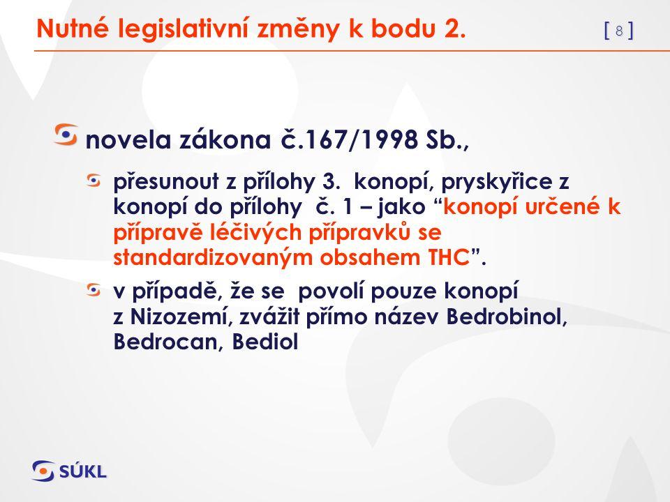 [ 8 ] Nutné legislativní změny k bodu 2. novela zákona č.167/1998 Sb., přesunout z přílohy 3.