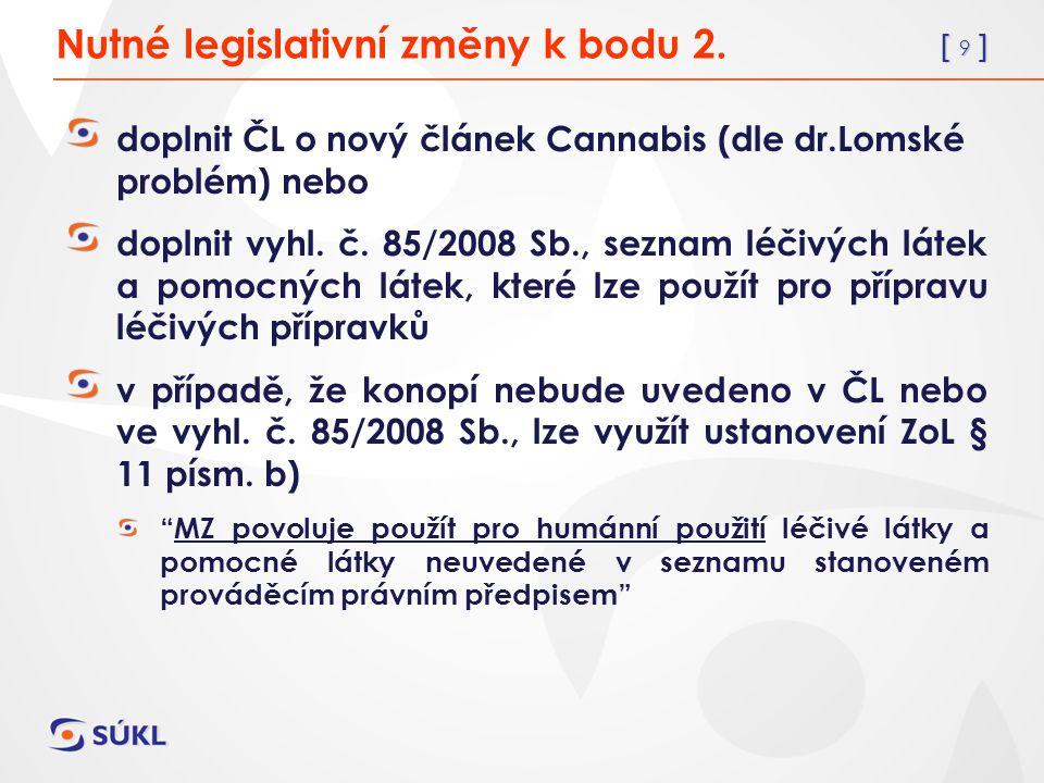 [ 9 ] doplnit ČL o nový článek Cannabis (dle dr.Lomské problém) nebo doplnit vyhl.