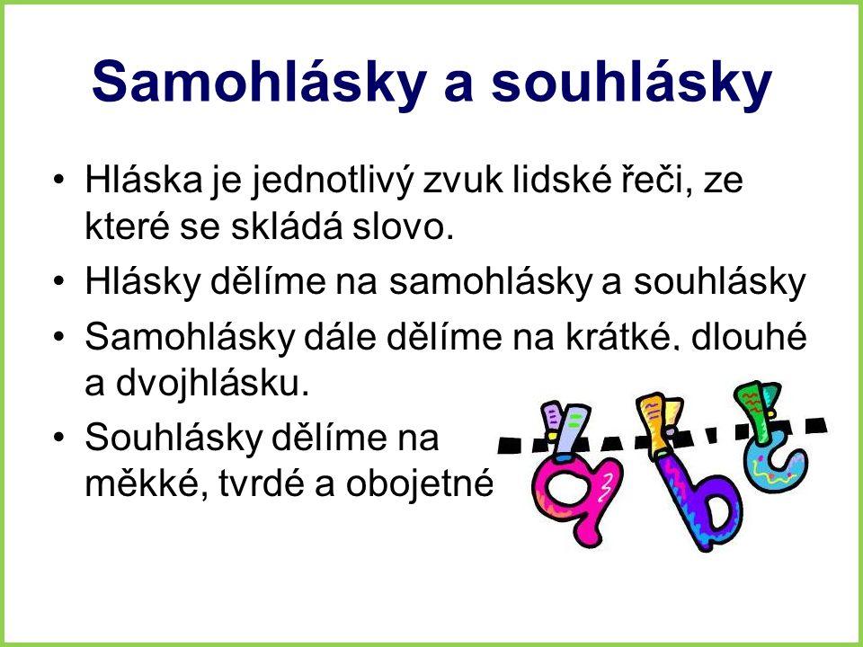 Samohlásky a souhlásky Hláska je jednotlivý zvuk lidské řeči, ze které se skládá slovo. Hlásky dělíme na samohlásky a souhlásky Samohlásky dále dělíme