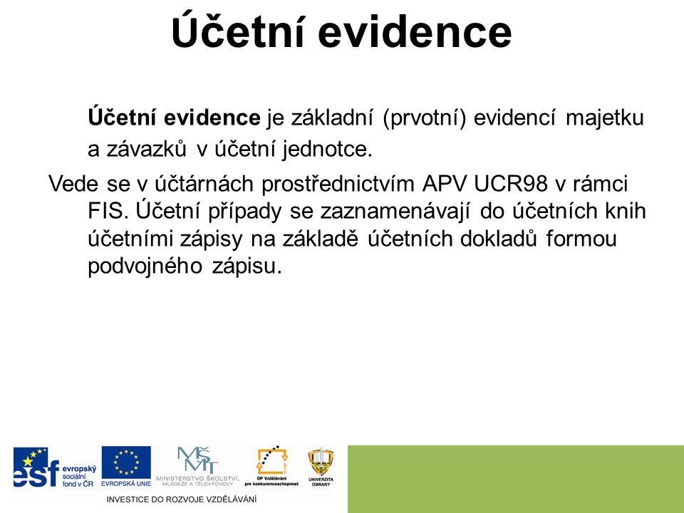 Ú četn í evidence Účetní evidence je základní (prvotní) evidencí majetku a závazků v účetní jednotce.