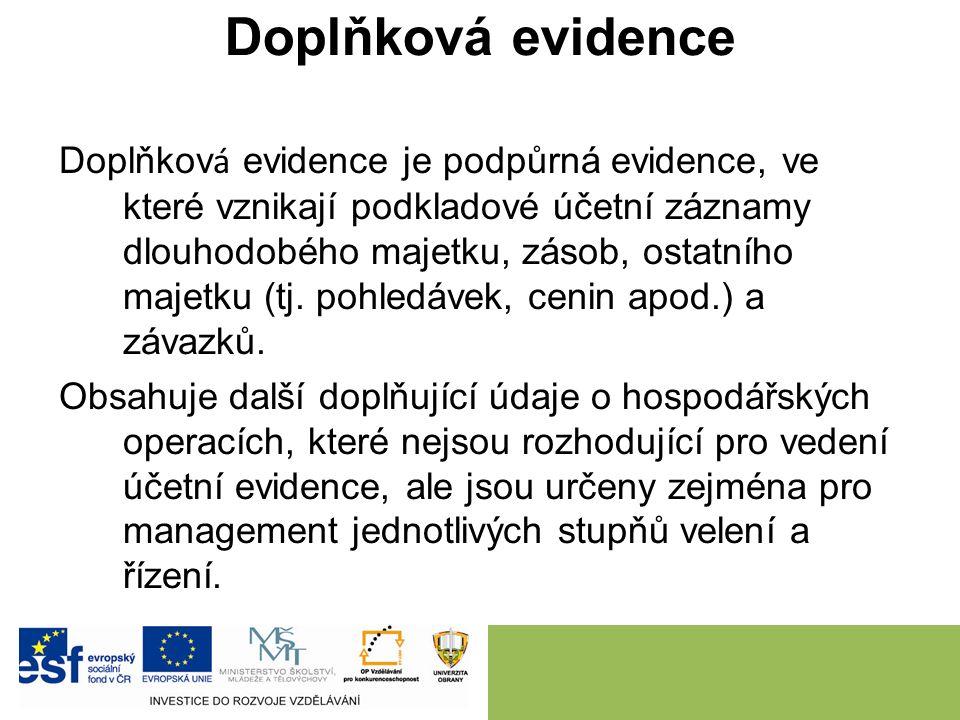 Doplňková evidence Doplňkov á evidence je podpůrná evidence, ve které vznikají podkladové účetní záznamy dlouhodobého majetku, zásob, ostatního majetku (tj.