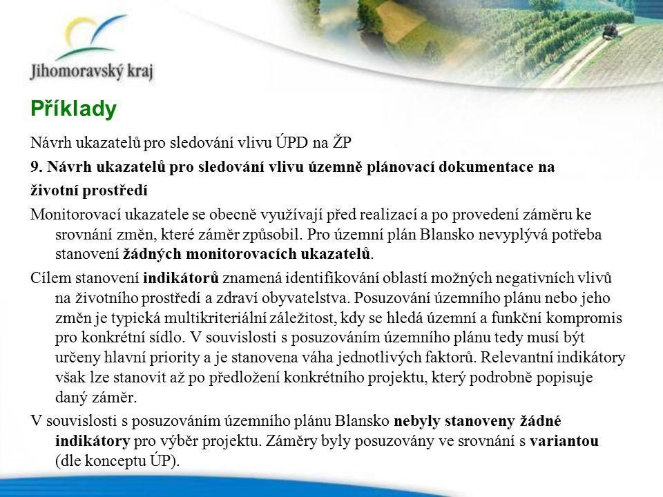Návrh ukazatelů pro sledování vlivu ÚPD na ŽP 9.