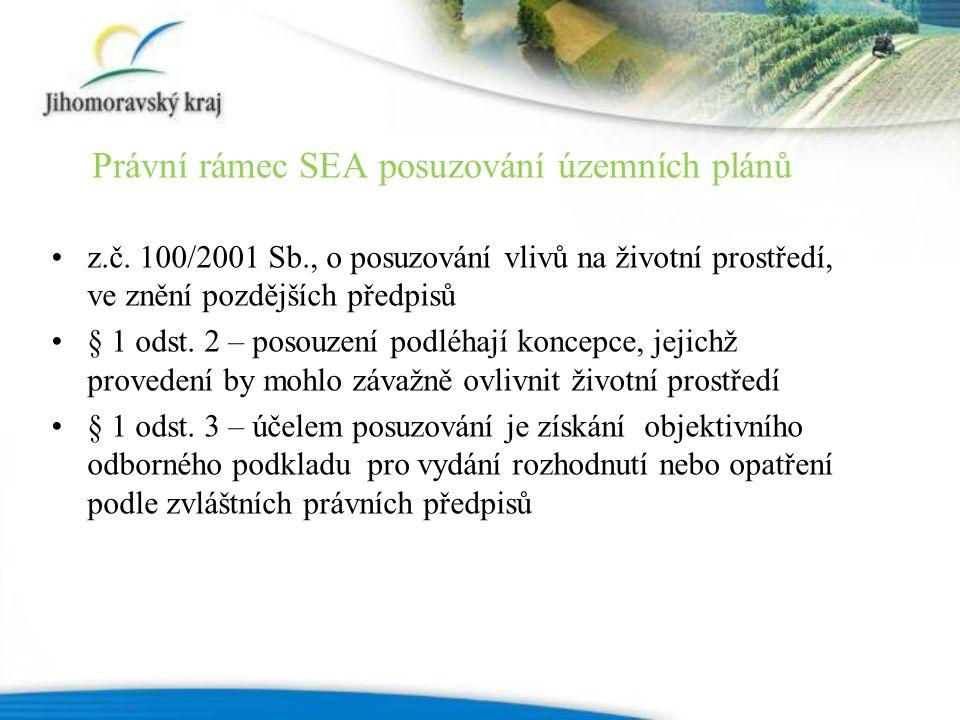z.č. 100/2001 Sb., o posuzování vlivů na životní prostředí, ve znění pozdějších předpisů § 1 odst.