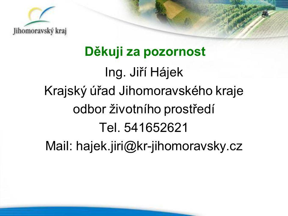 Ing. Jiří Hájek Krajský úřad Jihomoravského kraje odbor životního prostředí Tel.