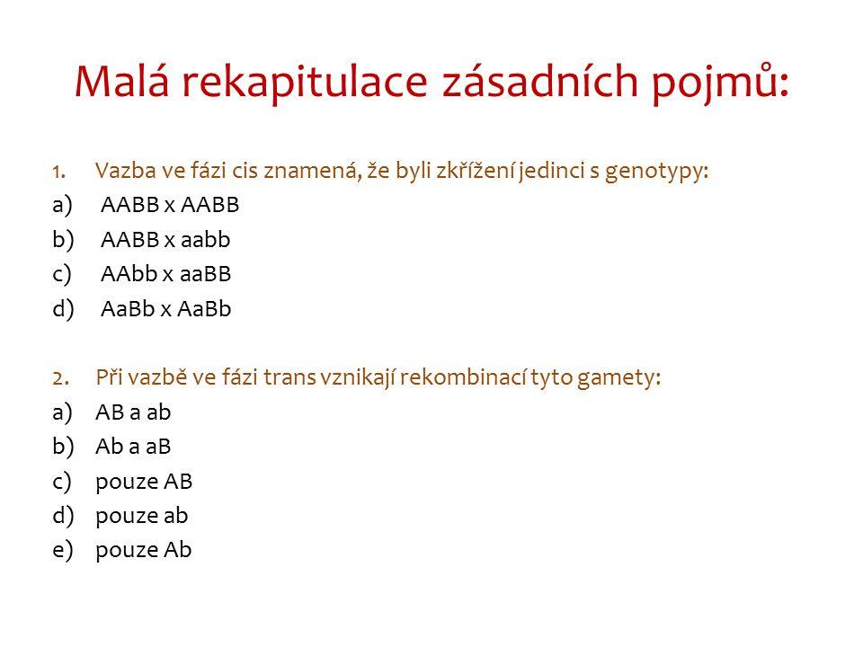 1.Vazba ve fázi cis znamená, že byli zkřížení jedinci s genotypy: a)AABB x AABB b)AABB x aabb c)AAbb x aaBB d)AaBb x AaBb 2.Při vazbě ve fázi trans vznikají rekombinací tyto gamety: a)AB a ab b)Ab a aB c)pouze AB d)pouze ab e)pouze Ab Malá rekapitulace zásadních pojmů: