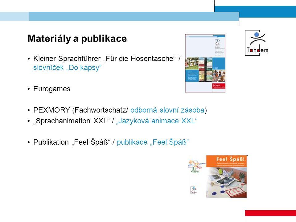 """Materiály a publikace Kleiner Sprachführer """"Für die Hosentasche"""" / slovníček """"Do kapsy"""" Eurogames PEXMORY (Fachwortschatz/ odborná slovní zásoba) """"Spr"""