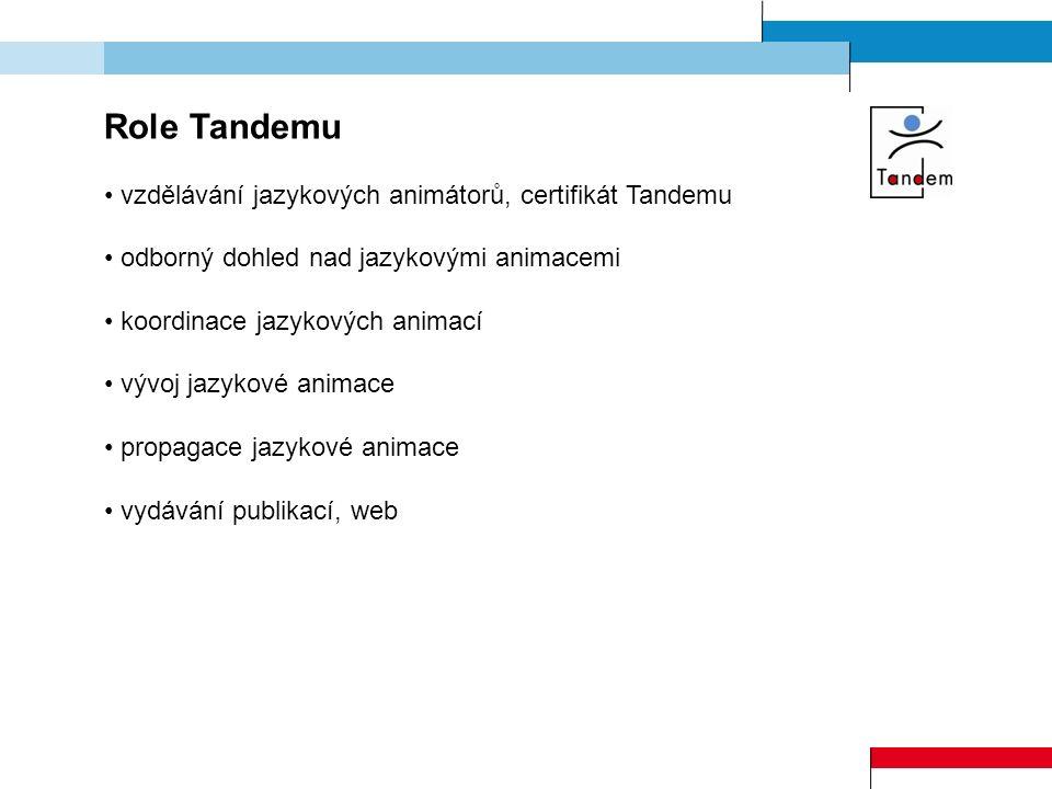 Role Tandemu vzdělávání jazykových animátorů, certifikát Tandemu odborný dohled nad jazykovými animacemi koordinace jazykových animací vývoj jazykové
