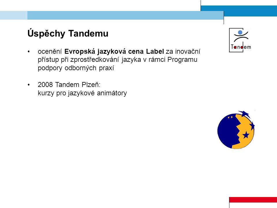 Úspěchy Tandemu ocenění Evropská jazyková cena Label za inovační přístup při zprostředkování jazyka v rámci Programu podpory odborných praxí 2008 Tand