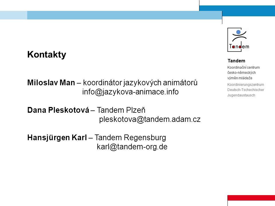 Tandem Koordinační centrum česko-německých výměn mládeže Koordinierungszentrum Deutsch-Tschechischer Jugendaustausch Kontakty Miloslav Man – koordinát