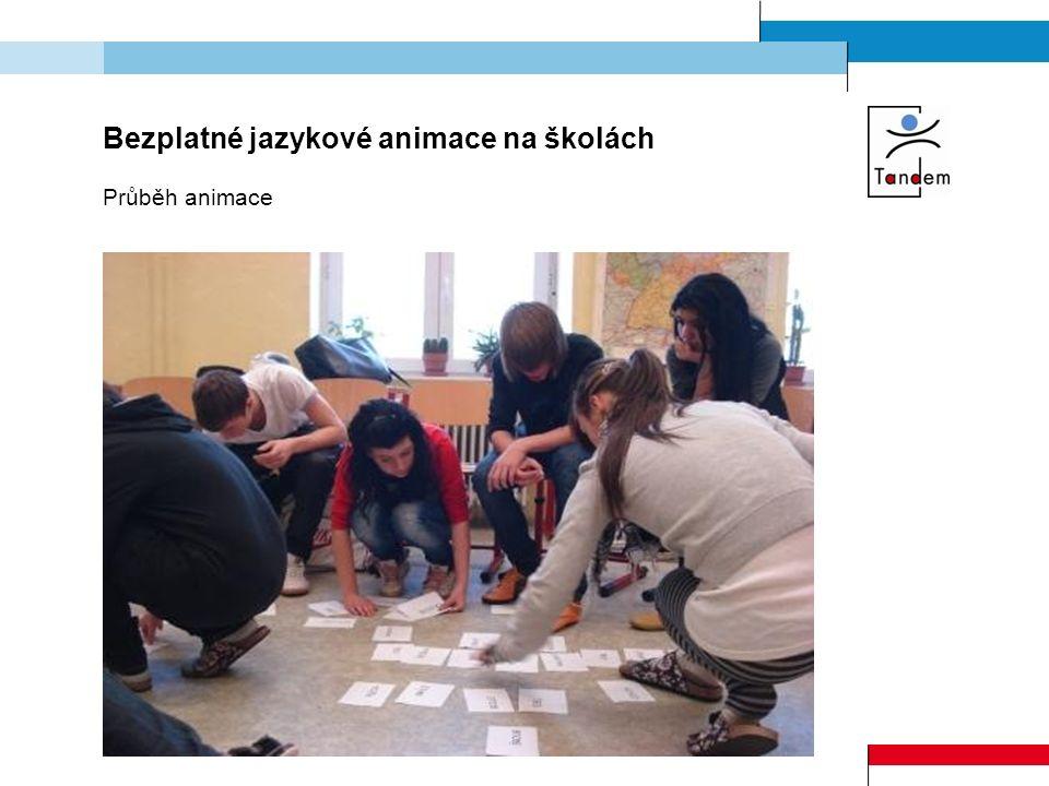 Bezplatné jazykové animace na školách Průběh animace
