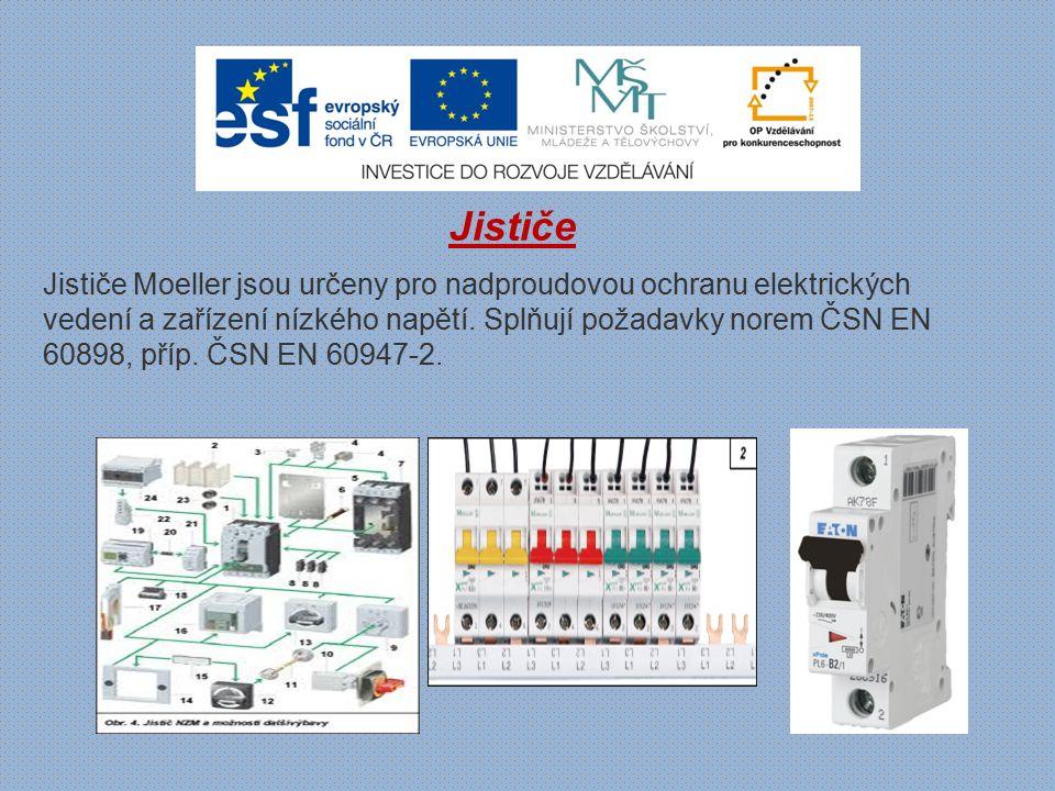 Jističe PL7 - vypínací schopnost 10 kA (ČSN EN 60898) - vypínací charakteristiky typu B, C, D - montáž na přístrojovou lištu - průřez připojovaného vodiče do 25 mm 2 - barevné ovládací páčky podle jmenovitého proudu - příslušenství: pomocné kontakty ZP-AHK, pomocné a signalizační kontakty ZP-NHK, vypínací spoušť ZP-ASA, podpěťové spouště Z- USA, Z-USD, motorový pohon Z-FW-LP a dálkové ovládání Z-FW-MO, propojovací systém Instalační jističe PL7 pro použití v domovních instalacích a průmyslu.