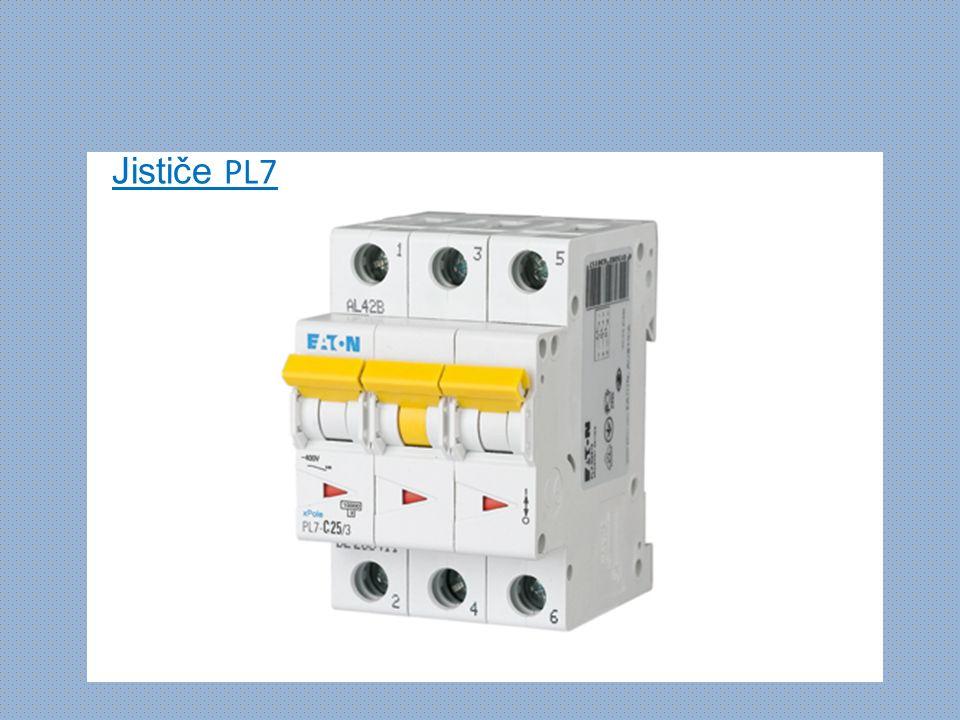 Jističe PL6 - vypínací schopnost 6 kA (ČSN EN 60898) - vypínací charakteristiky typu B, C - montáž na přístrojovou lištu - průřez připojovaného vodiče do 25 mm 2 - příslušenství: pomocné kontakty Z-AHK, pomocné a signalizační kontakty ZP-NHK, vypínací spoušť ZP-ASA, podpěťové spouště Z- USA, Z-USD, motorový pohon Z-FW-LP a dálkové ovládání Z-FW-MO, propojovací systém Instalační jističe PL6 pro použití zejména v domovních instalacích.
