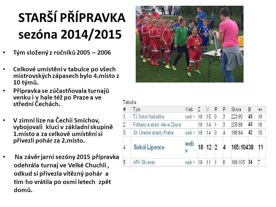 STARŠÍ PŘÍPRAVKA sezóna 2014/2015 Tým složený z ročníků 2005 – 2006 Celkové umístění v tabulce po všech mistrovských zápasech bylo 4.místo z 10 týmů.