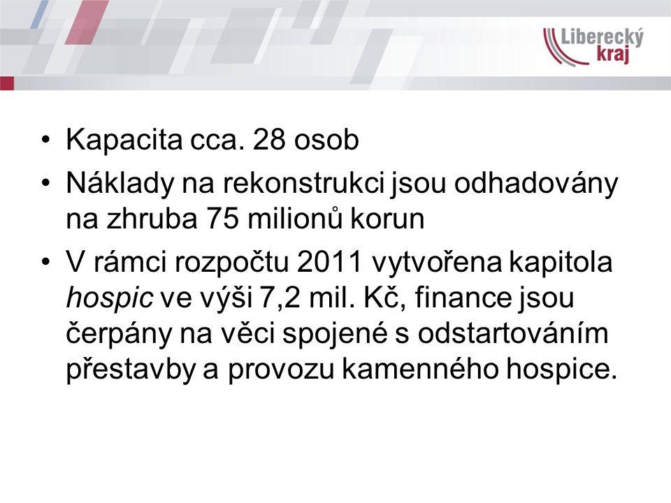 Kapacita cca. 28 osob Náklady na rekonstrukci jsou odhadovány na zhruba 75 milionů korun V rámci rozpočtu 2011 vytvořena kapitola hospic ve výši 7,2 m