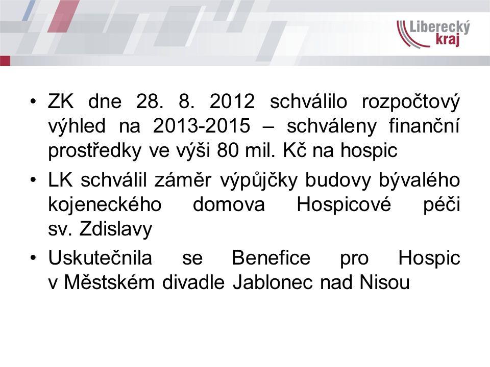 ZK dne 28. 8. 2012 schválilo rozpočtový výhled na 2013-2015 – schváleny finanční prostředky ve výši 80 mil. Kč na hospic LK schválil záměr výpůjčky bu