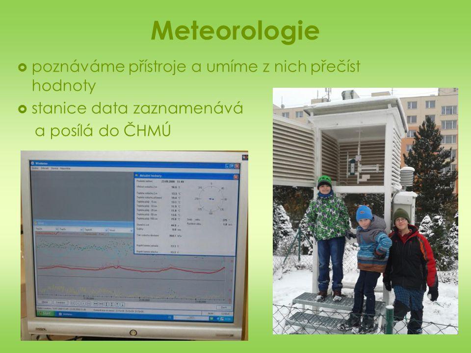 Meteorologie  poznáváme přístroje a umíme z nich přečíst hodnoty  stanice data zaznamenává a posílá do ČHMÚ