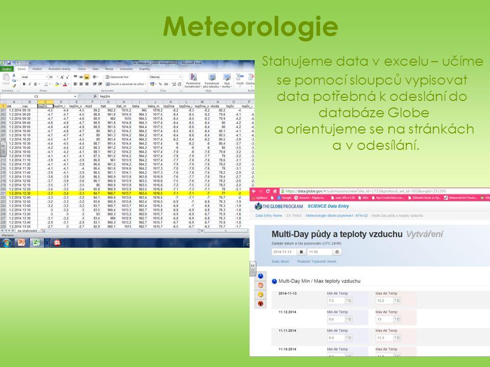 Meteorologie Stahujeme data v excelu – učíme se pomocí sloupců vypisovat data potřebná k odeslání do databáze Globe a orientujeme se na stránkách a v odesílání.