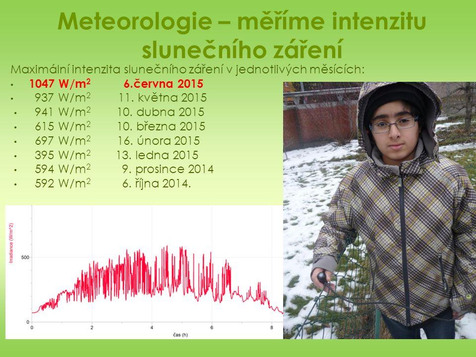 Meteorologie – měříme intenzitu slunečního záření Maximální intenzita slunečního záření v jednotlivých měsících: 1047 W/m 2 6.června 2015 937 W/m 2 11.