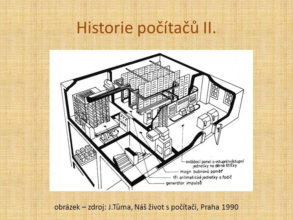 Historie počítačů II. obrázek – zdroj: J.Tůma, Náš život s počítači, Praha 1990