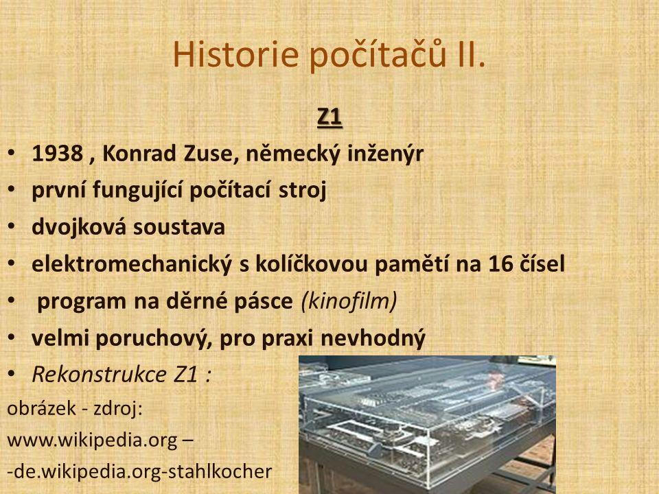 Historie počítačů II.
