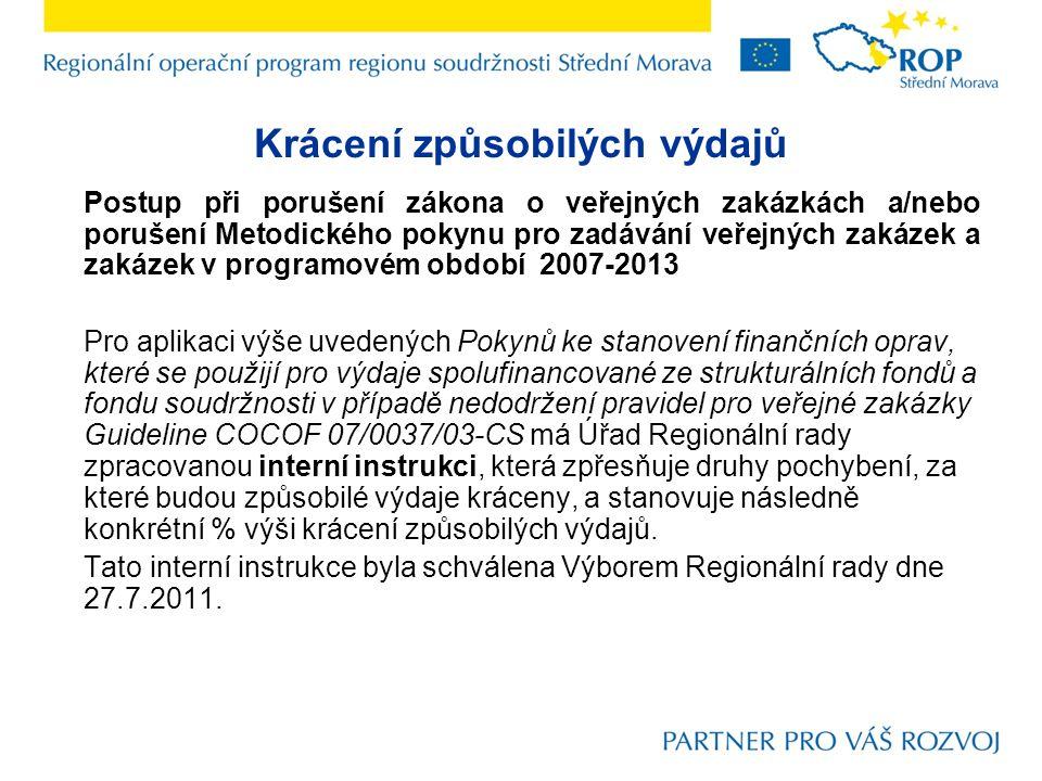 Krácení způsobilých výdajů Postup při porušení zákona o veřejných zakázkách a/nebo porušení Metodického pokynu pro zadávání veřejných zakázek a zakázek v programovém období 2007-2013 Pro aplikaci výše uvedených Pokynů ke stanovení finančních oprav, které se použijí pro výdaje spolufinancované ze strukturálních fondů a fondu soudržnosti v případě nedodržení pravidel pro veřejné zakázky Guideline COCOF 07/0037/03-CS má Úřad Regionální rady zpracovanou interní instrukci, která zpřesňuje druhy pochybení, za které budou způsobilé výdaje kráceny, a stanovuje následně konkrétní % výši krácení způsobilých výdajů.