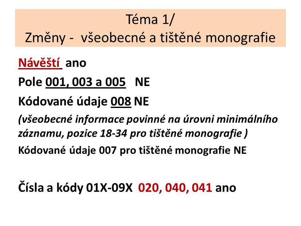Téma 1/ Změny - všeobecné a tištěné monografie Návěští ano Pole 001, 003 a 005 NE Kódované údaje 008 NE (všeobecné informace povinné na úrovni minimálního záznamu, pozice 18-34 pro tištěné monografie ) Kódované údaje 007 pro tištěné monografie NE Čísla a kódy 01X-09X 020, 040, 041 ano