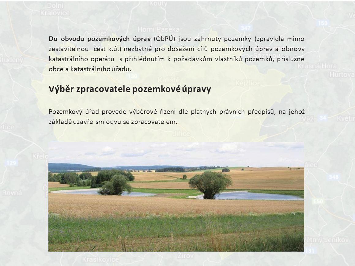 Do obvodu pozemkových úprav (ObPÚ) jsou zahrnuty pozemky (zpravidla mimo zastavitelnou část k.ú.) nezbytné pro dosažení cílů pozemkových úprav a obnovy katastrálního operátu s přihlédnutím k požadavkům vlastníků pozemků, příslušné obce a katastrálního úřadu.